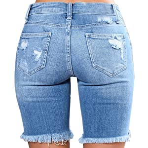 7346c2d49f4 Hestenve Womens Distressed Cut Off Jeans Shorts Ripped Hole Raw Hem ...