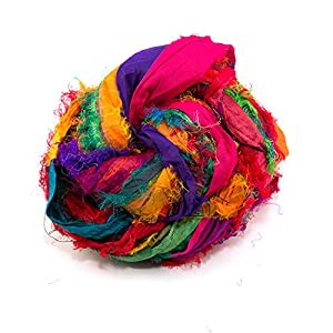 Darn Good Yarn Recycled Handmade Sari Silk Ribbon Tibet Jewels Multicolor  Yarn | Silk Ribbon Knitting Yarn, Crochet Yarn, Jewelry Making, Weaving