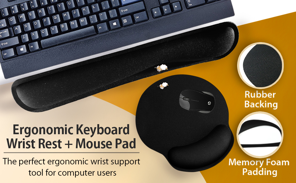 CushionCare Keyboard Wrist Rest Pad Full Mouse Pad Included for Set Memory