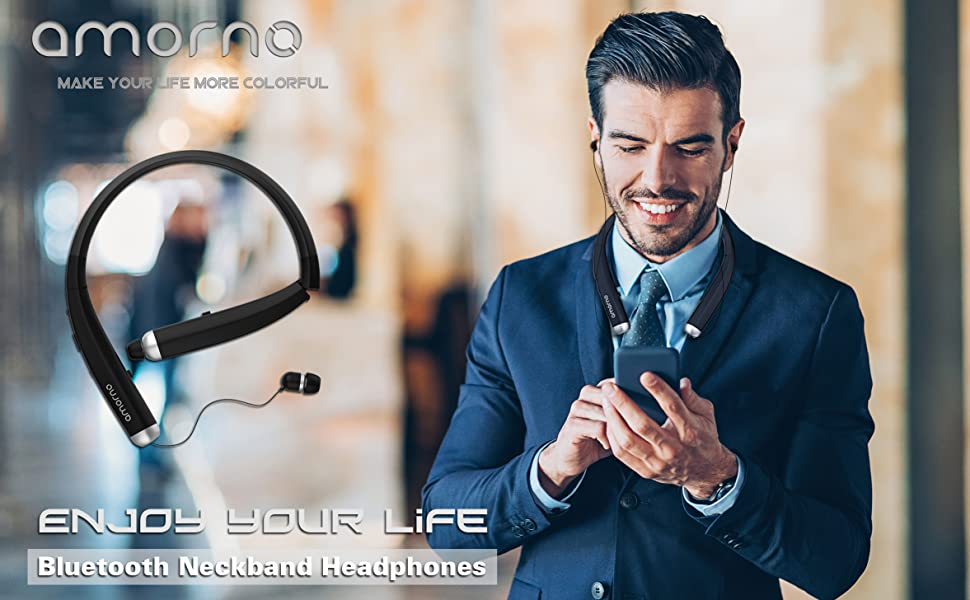 Wireless bluetooth neckban headphones