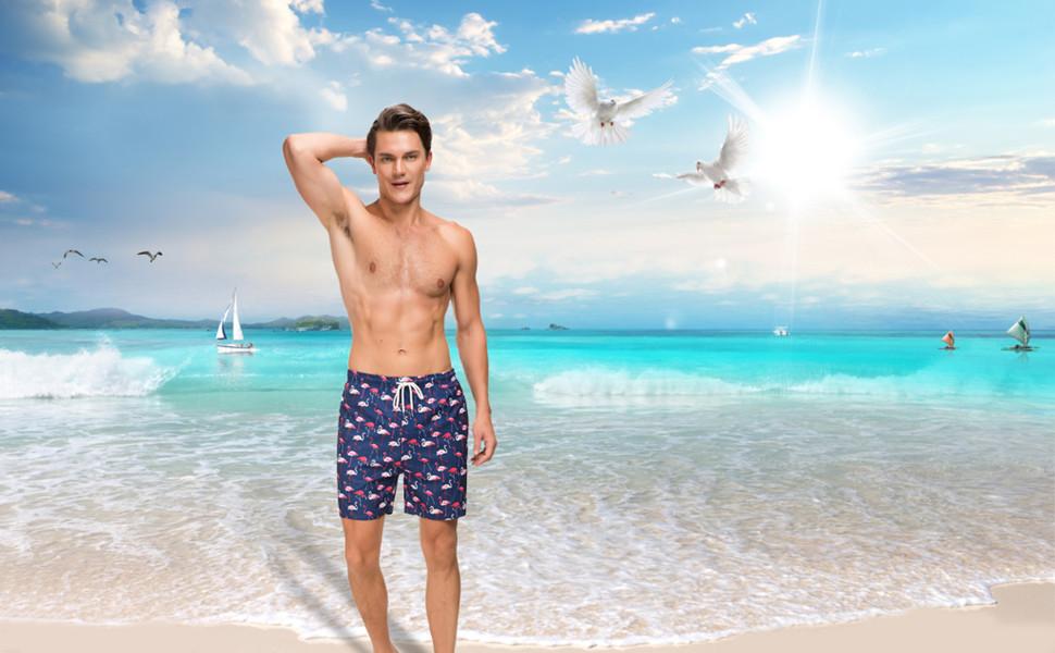 7ae953b986 Amazon.com: Janmid Mens Slim Fit Quick Dry Short Swim Trunks with ...