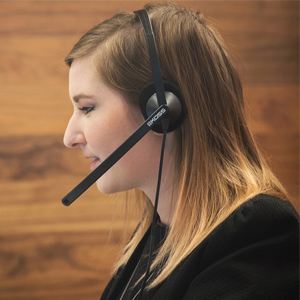 Koss CS195 Communication Headset Headphone Being Worn in an office for hands free calling