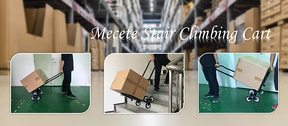 Mecete Stair Climbing Cart Portable Climbing Cart 330 lb Largest Capacity  All Terrain Stair Climbing Hand Truck Heavy Duty with 6 Wheels (Black)