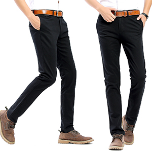 38a98bd9842 FLY HAWK Mens Slim Fit Tapered Flat Front Casual Pants 100% Cotton ...