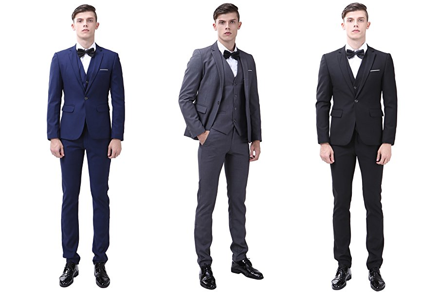 Mens 3-Piece Suit Slim Fit Two Button Single Breasted Notch Lapel ...
