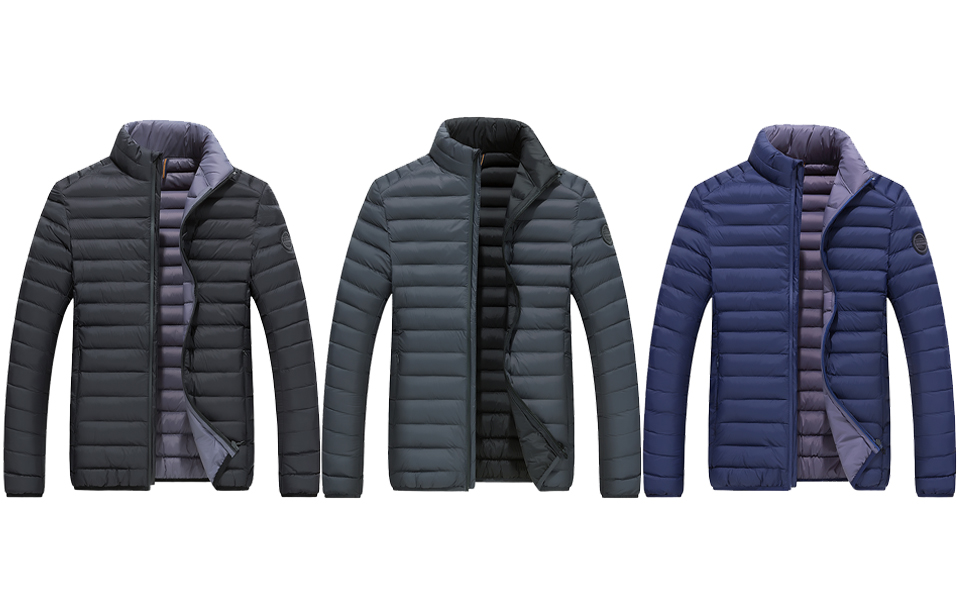 Rrive Men Stand Collar Quilted Outdoor Bomber Warm Down Jacket Coat