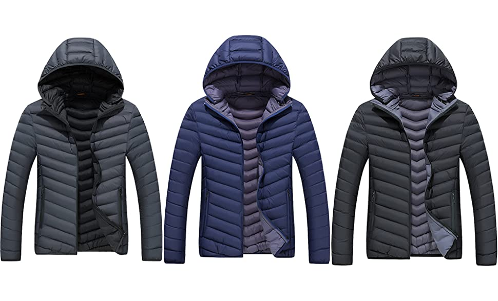 Amazon.com: Men's Lightweight Quilted Puffer Jacket Winter ...