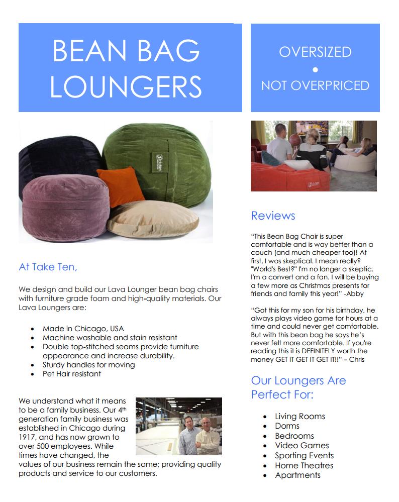 50 Bean Bag Lava Loungers From Take Ten Designs