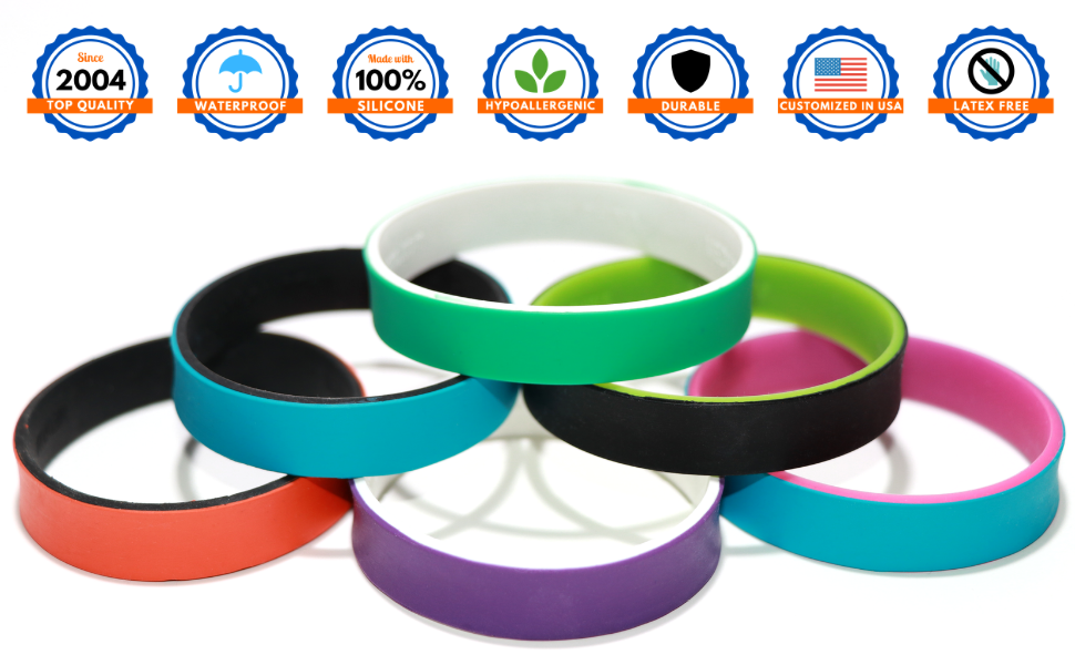 custom, dual layer, silicone, wristband, personalized, silicone, rubber, bracelet, customized, event