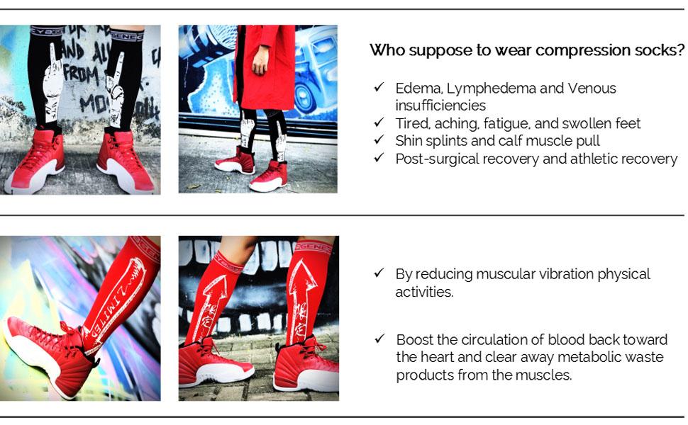 Compression Socks for Men & Women (15-20mmHg), Funny Calf Knee High Graduated Compression...