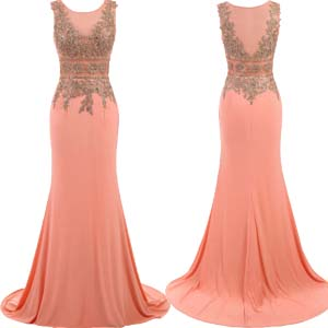 Embroidery Evening Gowns Mermaid Formal Prom Dresses