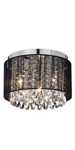 LaLuLa Chandeliers Flush Mount Light Fixture Crystal Chandelier Lighting Black Drum Ceiling Lights