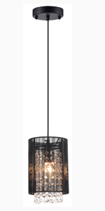 LaLuLa Pendant Lighting Crystal Chandelier Black Chandeliers 1 Light Ceiling Light Fixture