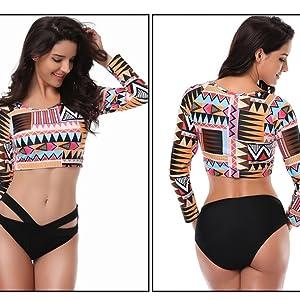 dcbf22d976571 Amazon.com: GOKKO Charm Plus Size Long Sleeve Swimwear Split High ...