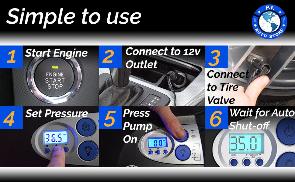 Amazon Com P I Auto Store Tire Inflator 12v Dc Air Compressor