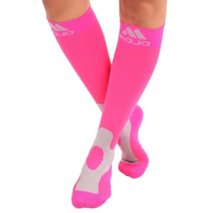 Mojo Compression Socks for Men & Women 20-30mmHg Breathable Coolmax Blend and Soft Easy to get on Materials. Medical Grade Firm Graduated Support ...