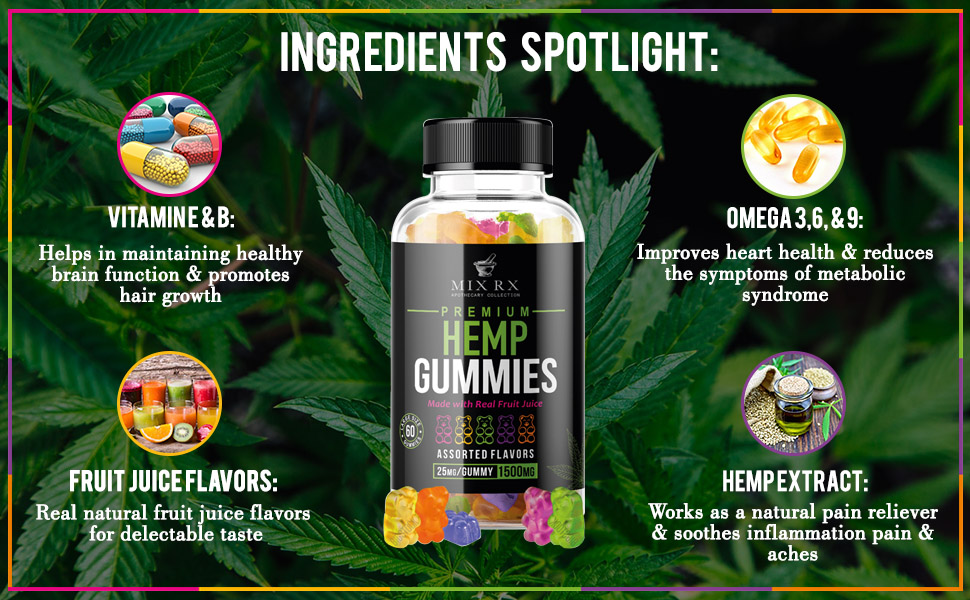 Hemp extract gummies for overall health wellness.