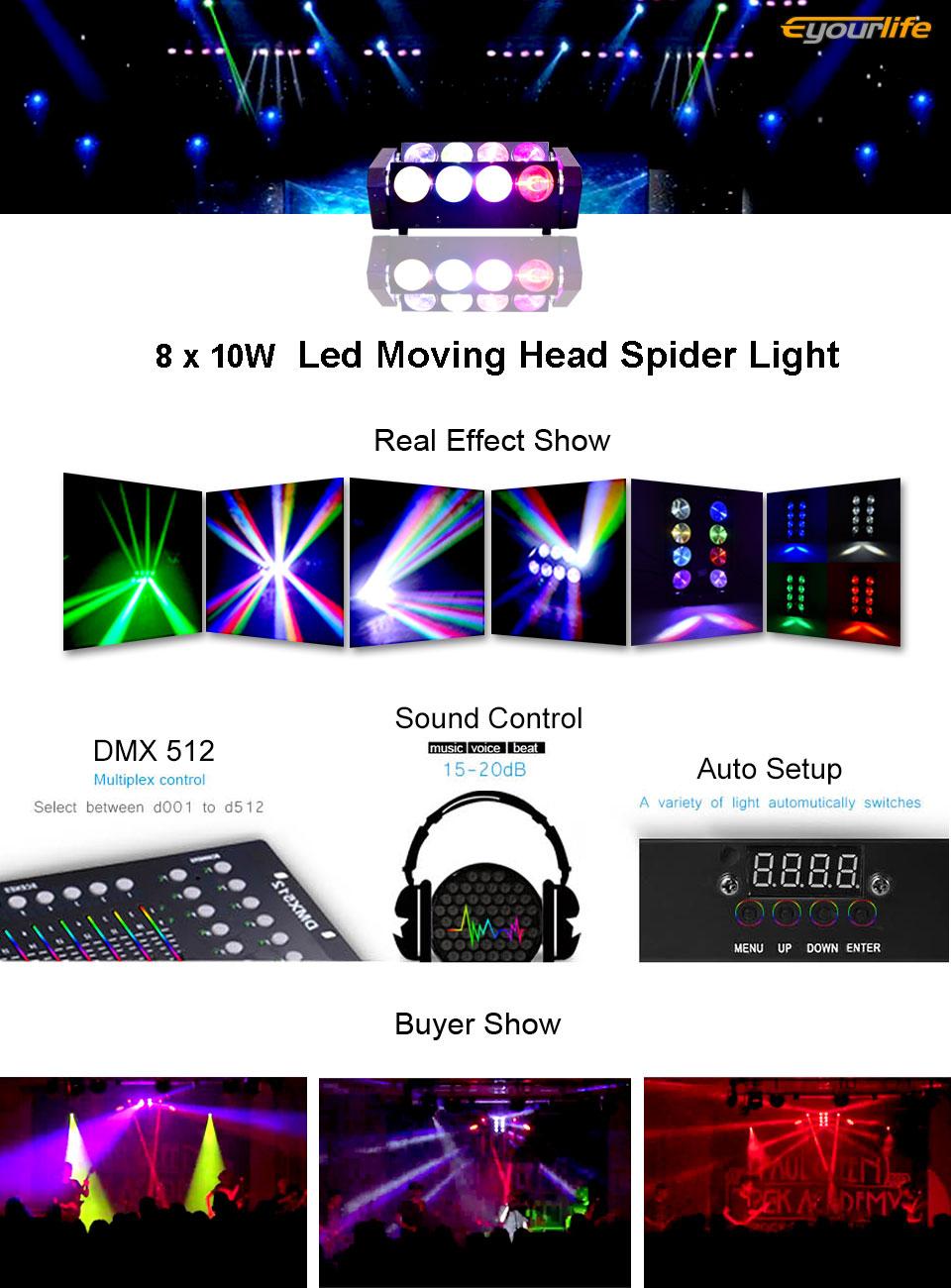 Eyourlife LED Stage Lighting 8x10w Par LED Spider Moving Head Light RGBW DMX 512 Stage Disco Lighting