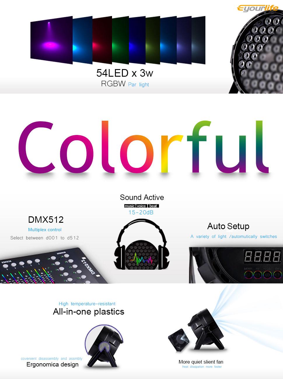 Eyourlife Led Stage Lights 8pcs 54x3w Dj Par Light 3w Highpower Drive Circuit Ledandlightcircuit Product Description