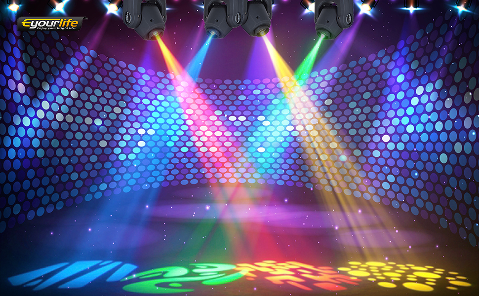 Eyourlife 4Pcs X 10W LED Patterns Light DJ Stage Moving Head DMX512 Auto Stop For Club Party Show Lighting