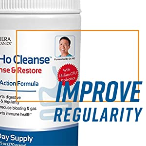Cleanse and restore container to the left with Improve Regularity text in large blue letters.