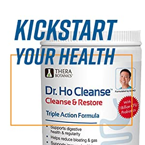 "Cleanse and restore container with large blue letters reading: ""Kickstart your Health""."