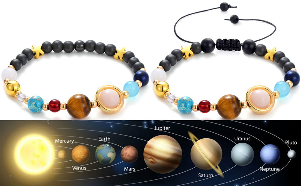 Jewelry & Accessories United Women Exquisite Galaxy Eight Planets Solar System Stars Round Bead Chain Gold Silver Pendant Anklet Set Fashion Jewelry
