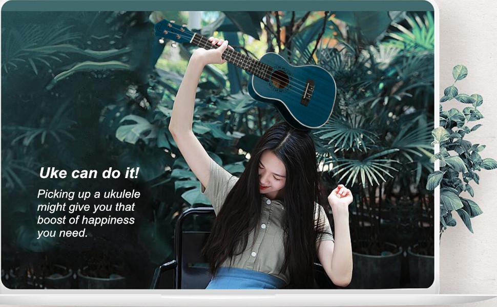 Concert Ukulele Ranch 23 inch Professional ukelele Online Lessons Gig Bag Hawaiian Guitar Blue
