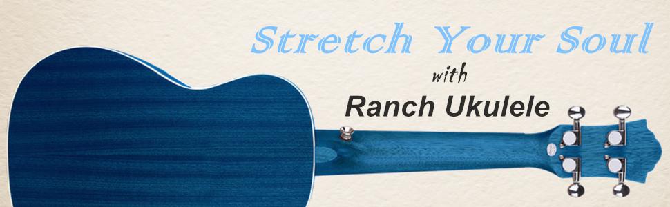 Concert Ukulele Ranch 23 inch Professional Online Lessons Gig Bag Hawaiian Guitar - Starry Blue