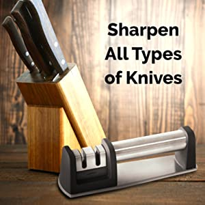 Zulay Premium Quality Knife Sharpener for Straight and Serrated Knives Stainless Steel Ceramic and Tungsten - Easy Manual Sharpening for Dull Steel, ...