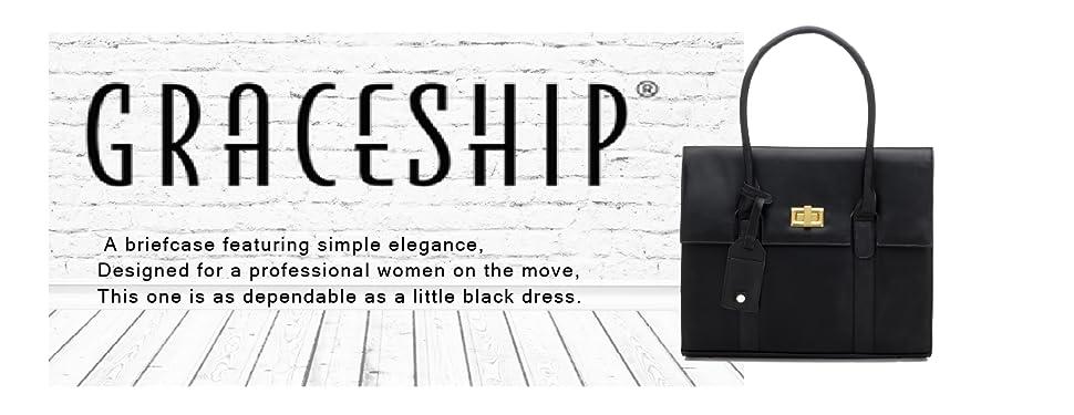 c0e95aa66 Amazon.com: Graceship Women Briefcase Shoulder Laptop Messenger Bags ...
