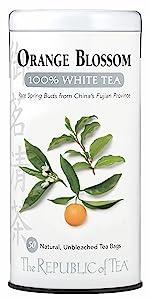 A tin of white tea in orange blossom flavor