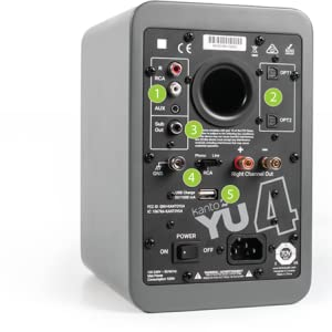 Matte grey kanto YU4 speaker rear panel with green numbers to indicate inputs