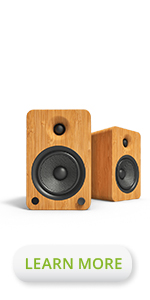 Kanto YU6 powered bookshelf loud speakers Bamboo