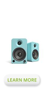 Kanto gloss teal YU4 powered bookshelf speakers