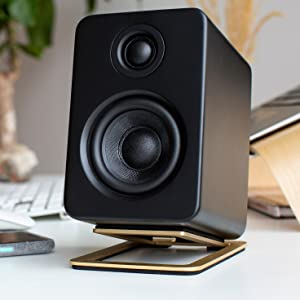 S2, brass, gold, black speaker, desktop, speaker, stand, minimal, design, foam, isolation