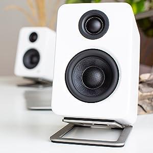 s2, silver, stainless, steel, desktop, speaker, stand, foam, isolation