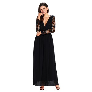 Cyerlia Womens V Neck Open Back Long Sleeve Lace Maxi Evening Dress