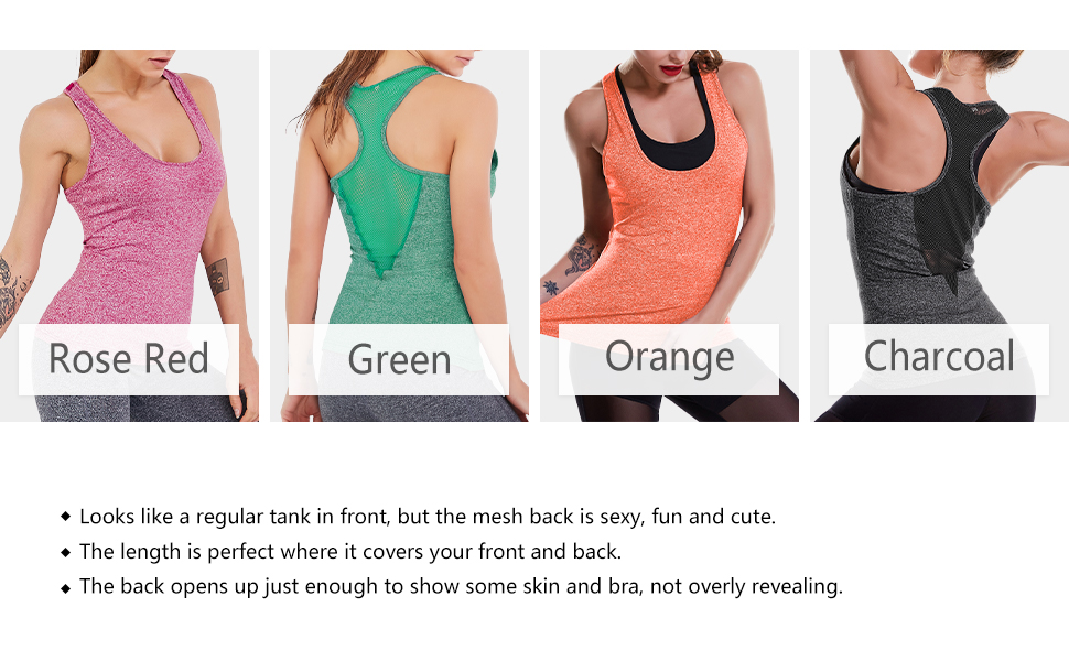 a013f0937ea OYANUS Womens Yoga Tops Activewear Running Workout Clothes Quick Dry Sports  Gym Shirts Racerback Mesh Tank Tops for Women