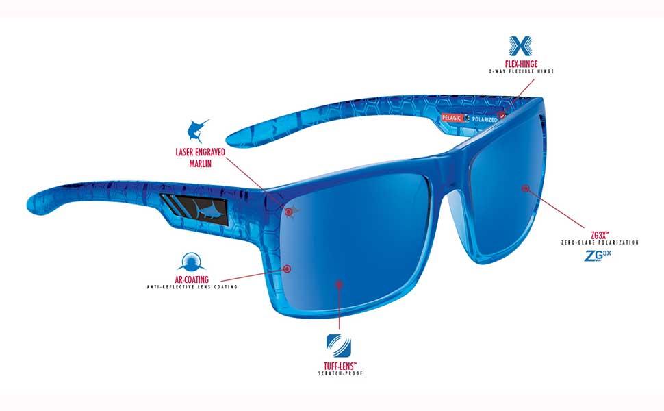 Scratch Resistant Pelagic Shark Bite Polarized Sunglasses for Fishing