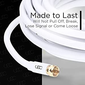 RG6 Digital Audio Video with Male F Connector Pin 25 Feet 25ft Coaxial Cable Triple Shielded CL3 in-Wall Rated Gold Plated Connectors