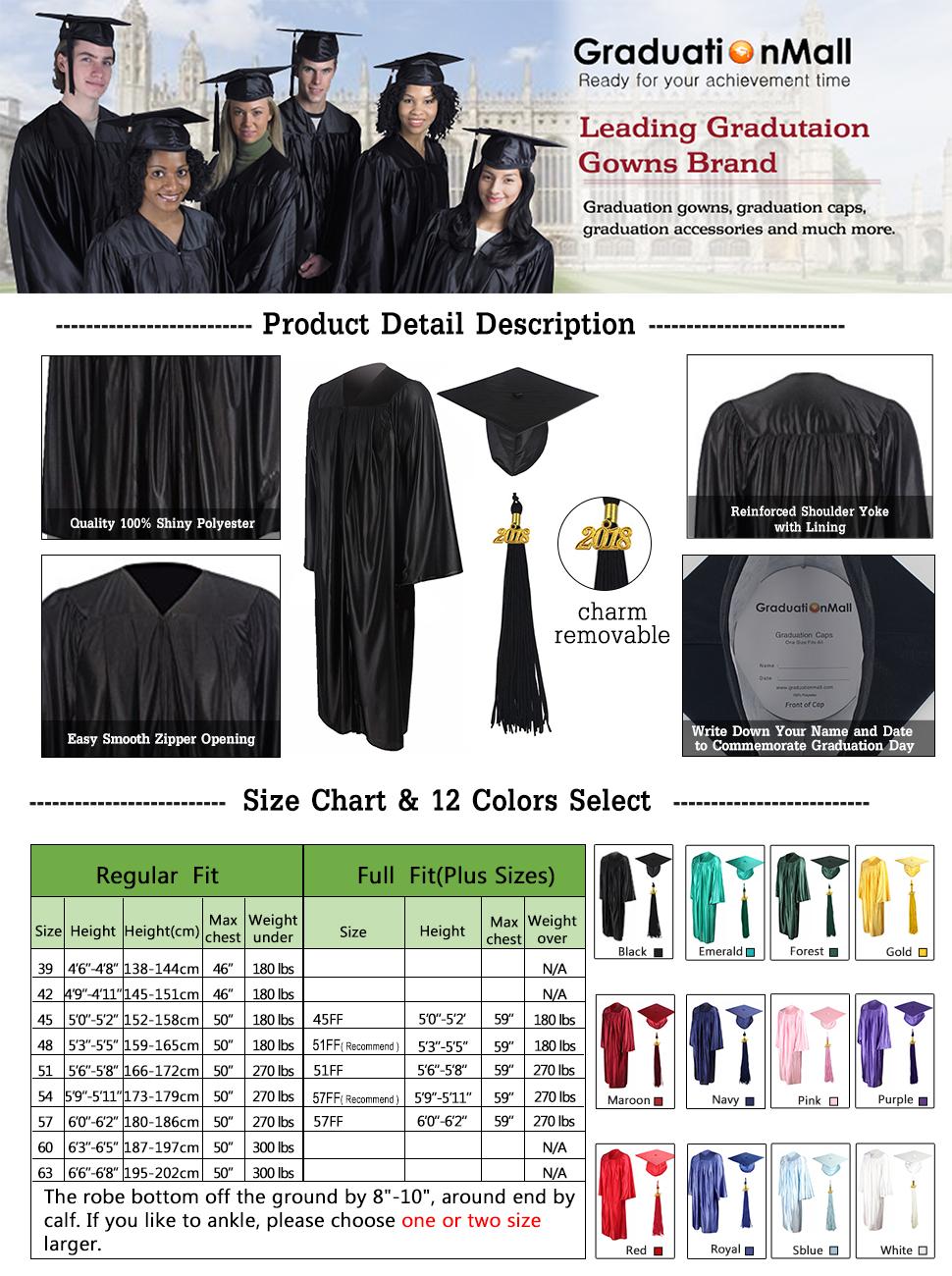 GraduationMall Shiny Graduation Gown Cap Tassel Set 2018 for High ...