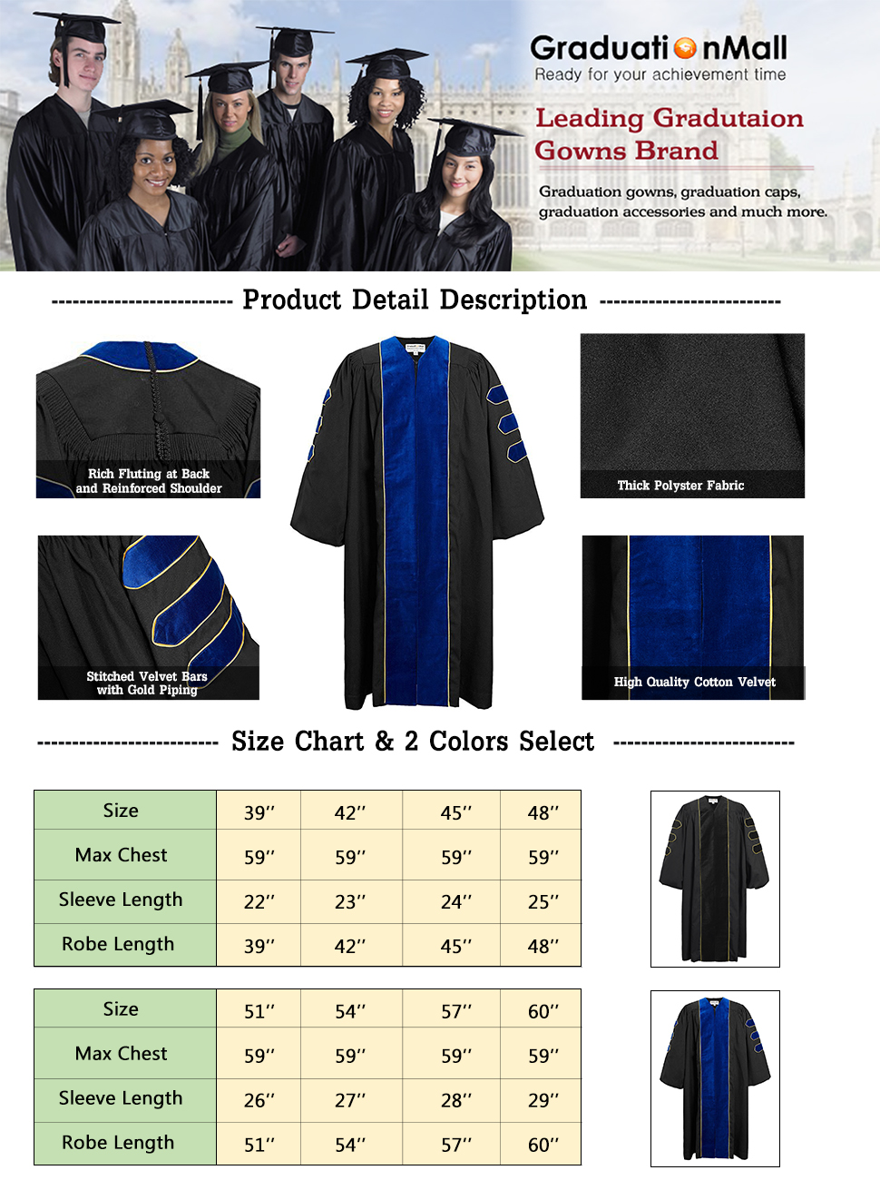 Amazon.com: GraduationMall Deluxe Doctoral Graduation Gown For ...