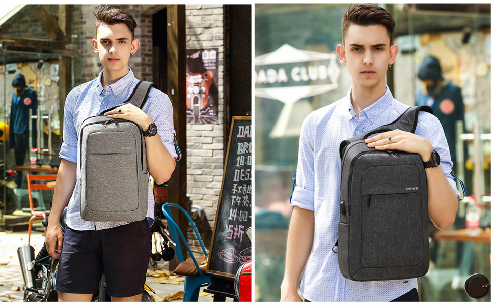 Lightweight Laptop Backpack Usb Water Resistant 15.6 Inch Business Slim Back Pack Charging