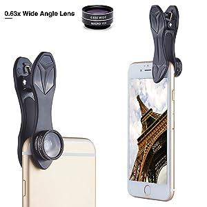 JohnJohnsen Mobile Phone Camera Lens Kit Fish Eye Lens 2 in1 Macro Lens/& Super Wide Angle Lens with Black Universal Phone Clip