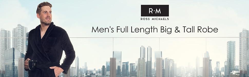 87e20557eb Ross Michaels Mens Long Robe - Full Length Big   Tall Bathrobe at ...