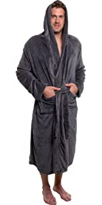 cfd3d7d3ee Ross Michaels Mens Hooded Robe - Plush Shawl Kimono Bathrobe at ...
