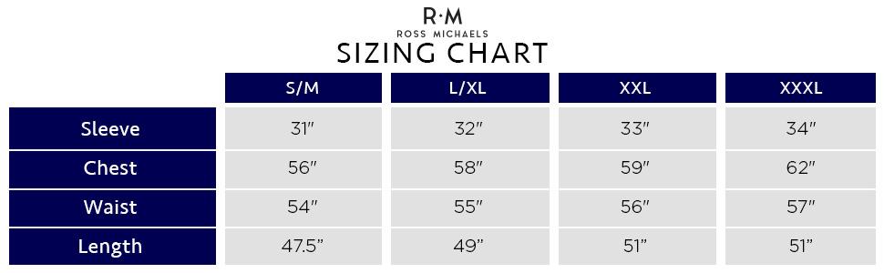 ross michaels size chart