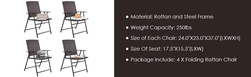 Amazon.com: Tangkula silla de ratán plegable color ...