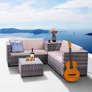 Tangkula 4PCS Patio Sofa Set Wicker Rattan Outdoor Garden Lawn Cushioned Seat with Storage Conversation Set (Mix Grey)